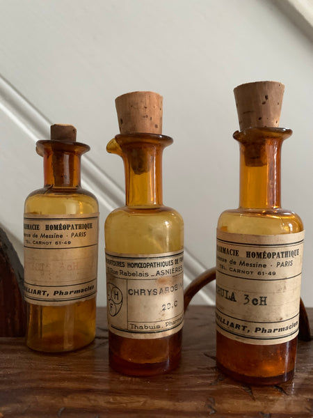Teeny French Antique Chemist Bottles - set of 5