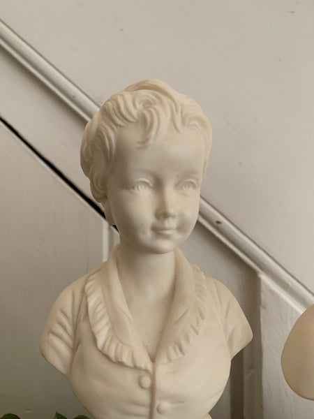 Pair of Bisque Porcelain Busts of a Parisien Boy & Girl