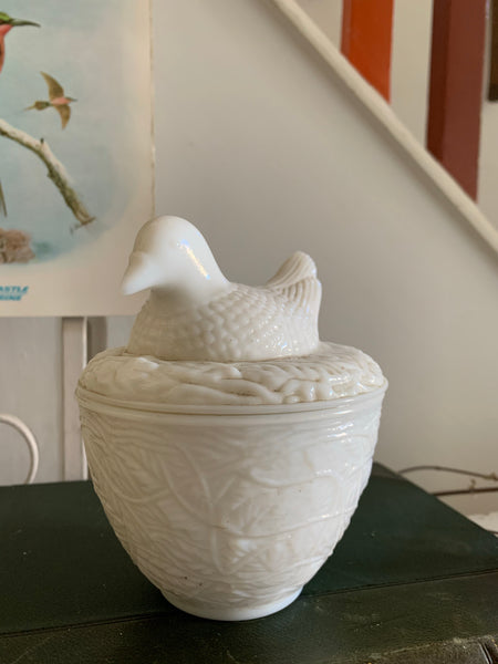 "Vintage ""Nesting Dove"" Milk Glass Trinket Dish"