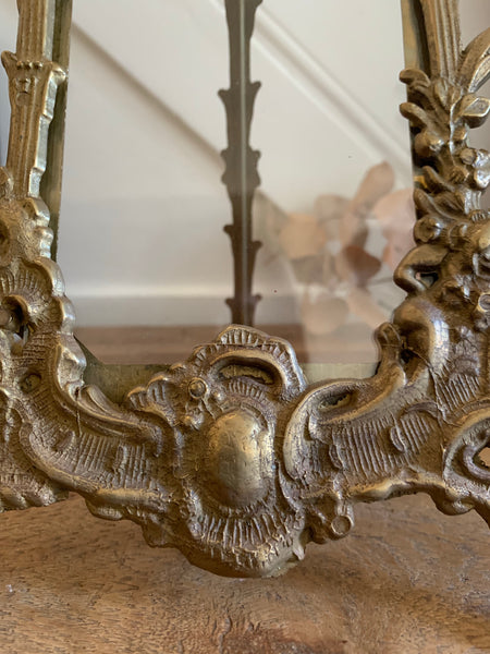 Ornate vintage brass table-top frame with adjustable leg