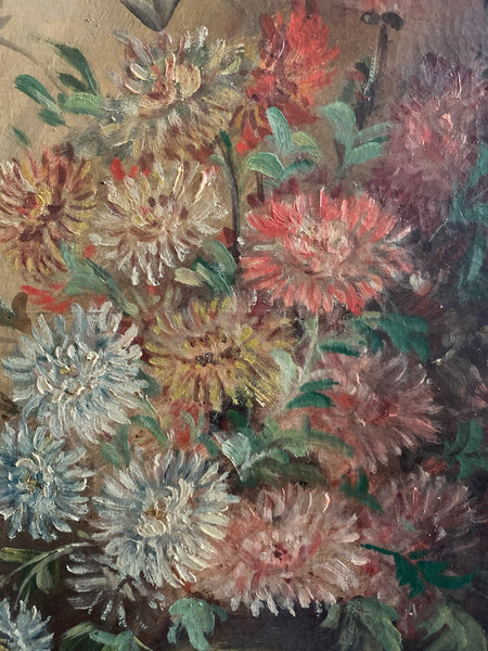 French Original Floral Oil on Canvas