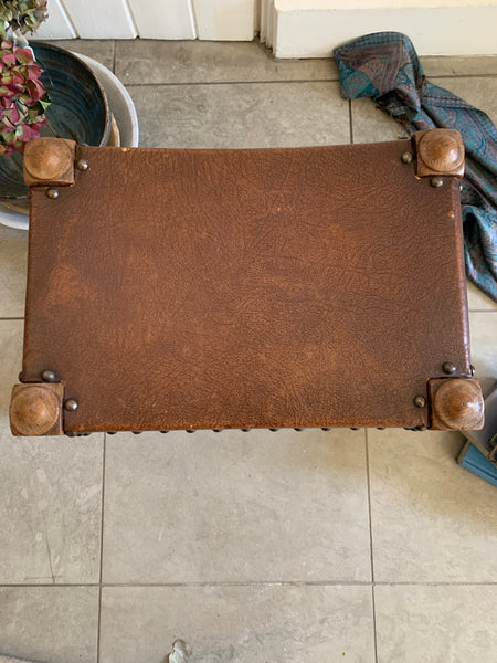 Vintage Stool with Faux Leather and Stud Detail