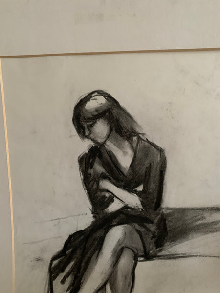 Original Charcoal Portrait - Woman with crossed arms & legs