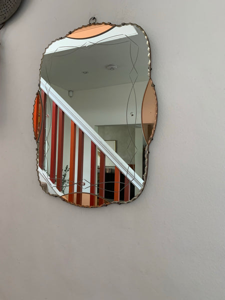 Beautiful Art Deco Mirror with peach glass