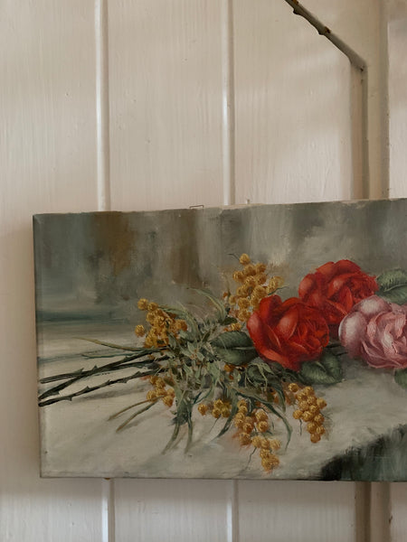 Small Antique Floral Oil on Canvas