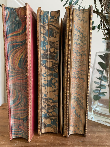 Trio of Old Marbled Books with Leather Spines