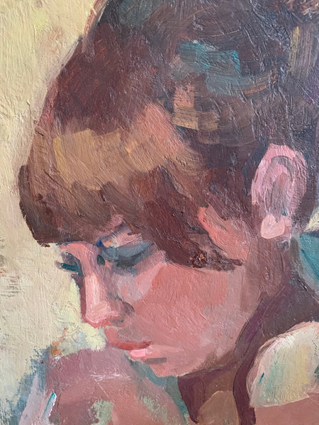 Portrait of Lady with a Fringe - Mini Oil Painting on Board