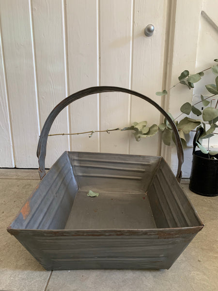 Small Rustic Metal Trug with Adjustable Handle