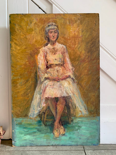 Portrait of Lady in Yellow Tones - Oil Painting on Board