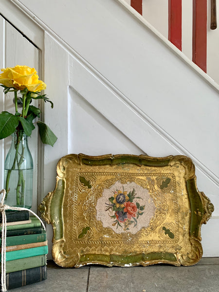 Large Florentine Gilt Tray with Floral Detail