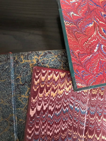 Trio of Marbled Books