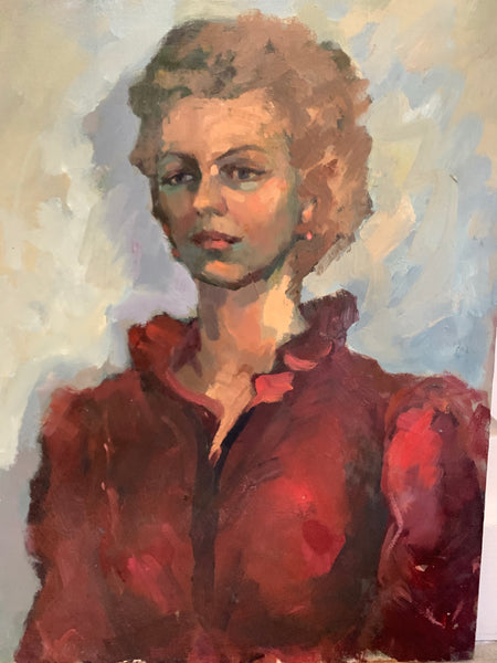 Portrait of Lady in Blue and Burgundy - Oil Painting on Board