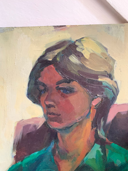 Portrait of Lady in Green and Brown - Oil Painting on Board