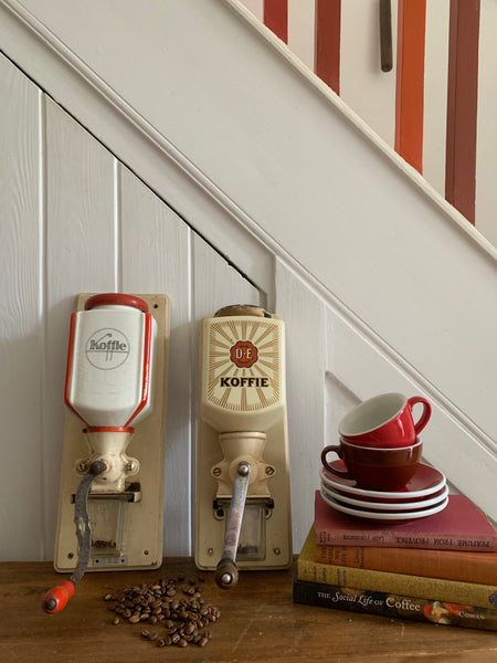 Dutch Vintage Wall Mounted Coffee Grinder (white and red)
