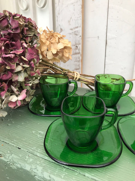 1950s Green Glass Espresso cups - set of 4