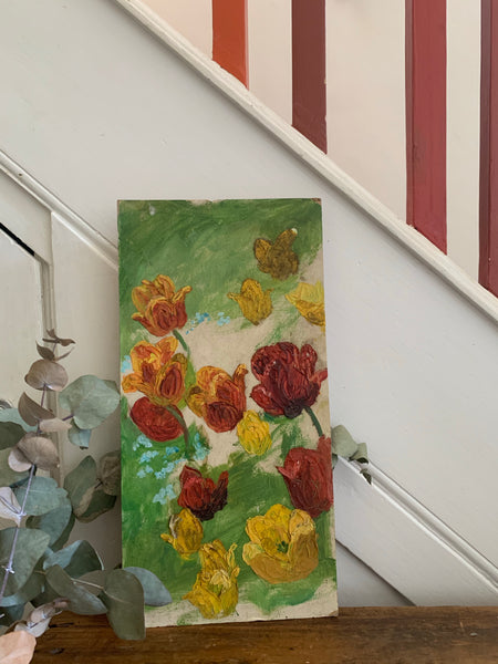 Red & Yellow Floral Burst: Narrow Vintage Oil on Board