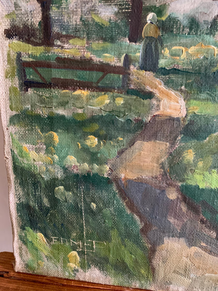 A glimpse of a cottage through the trees:  Large Oil on Canvas