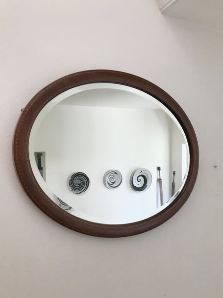 Antique Oval Mirror with inlay detail