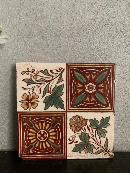 Antique Victorian Pottery Tile 1