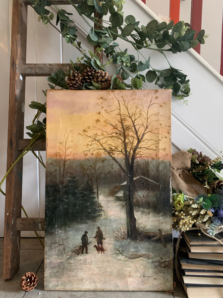 Antique Oil on Canvas: Wintry Forest