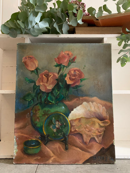 Floral Still-Life with Shell - Vintage Oil on Canvas