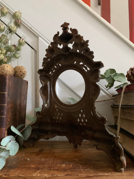 Antique Art Nouveau Style Cast Iron Clock Case