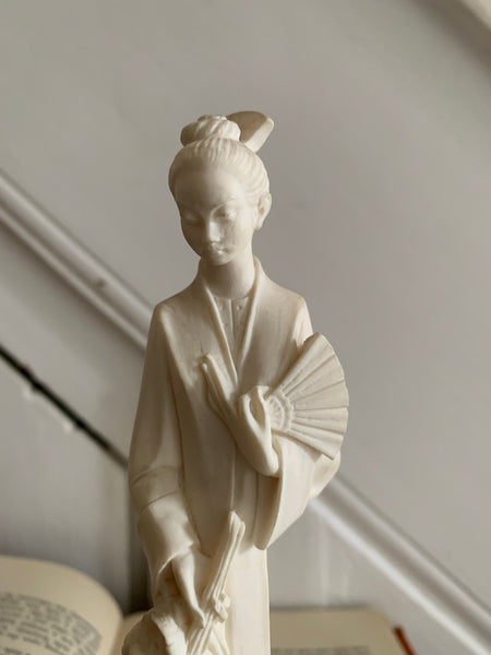 Small Porcelain Figurine of Chinese Lady with Fan