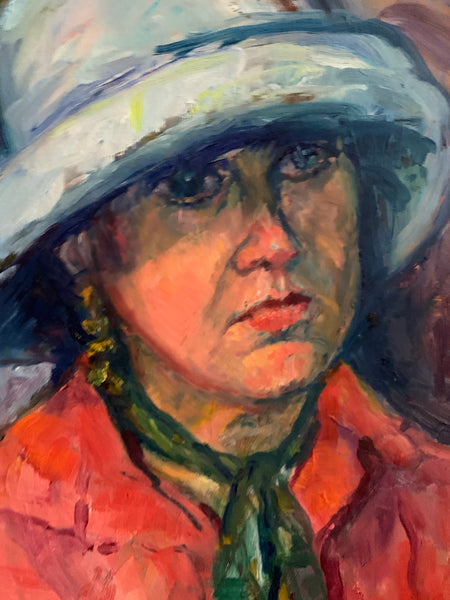 Portrait of a Lady with a Hat- Small Oil Painting on Board