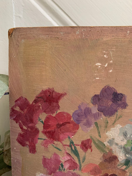 Small Vintage Floral Oil on Board