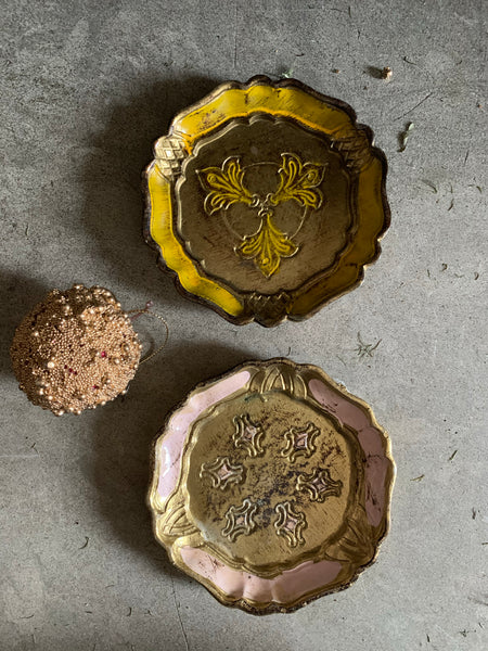 Set of Two Vintage Italian Florentine Coasters - Pink & Yellow
