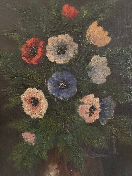 Little 1940s French Floral Oil On Canvas
