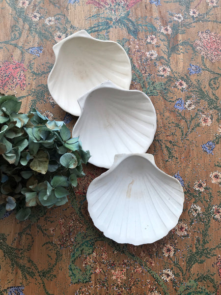 Trio of French vintage bisque porcelain scallop dishes