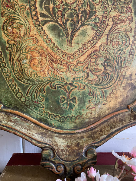 Large Muted Green and Gold Florentine Tray