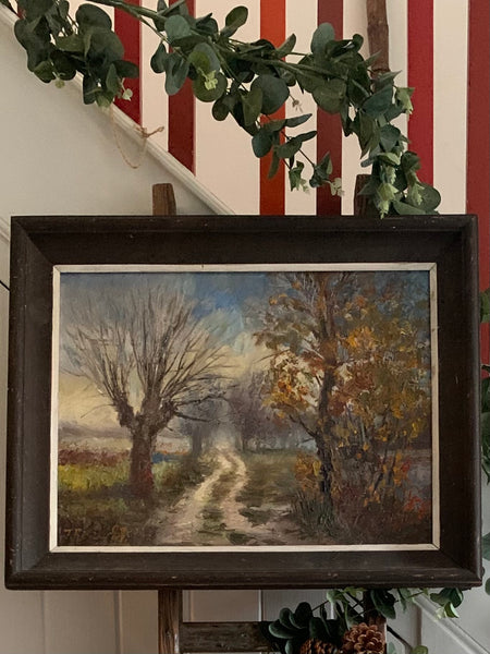 Midcentury Oil on Canvas: A path through the trees