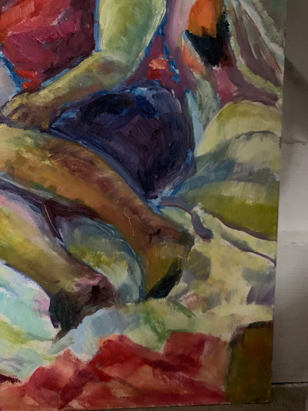 Portrait of a Lady On a Bed- Small Oil Painting on Board