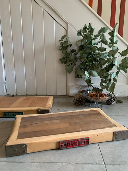 Reclaimed Wood Chopping Block (with red metal plaque)