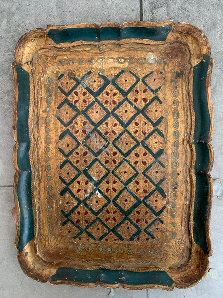 Florentine Wood Gilt Tray - Green & Gold