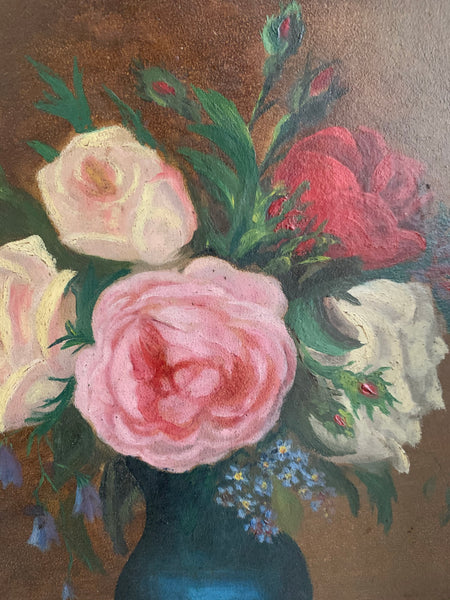 1940s Floral Still-Life Oil Painting