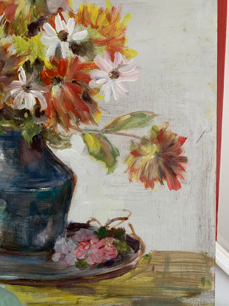 Floral Still-Life with Blue Jug and Plate - Vintage Oil on Board