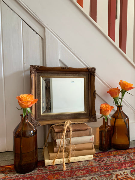 Small Vintage Gold-Framed Mirror