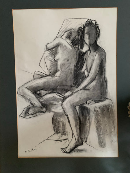 Original Charcoal Portrait - Two Women