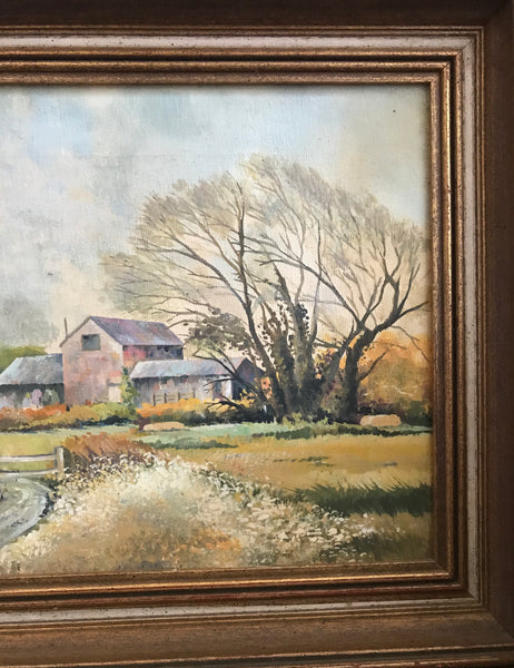 Framed canvas of farm scene and buildings