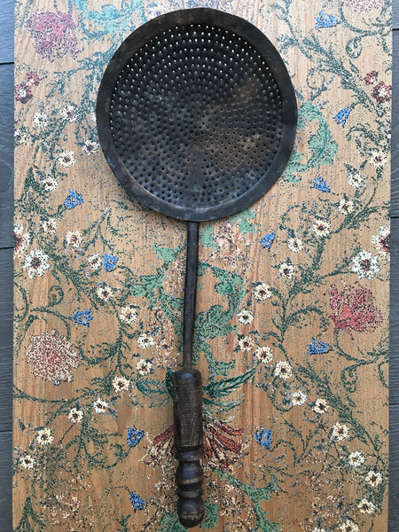 Small Antique Iron Pan/Chestnut Burner with wooden handle