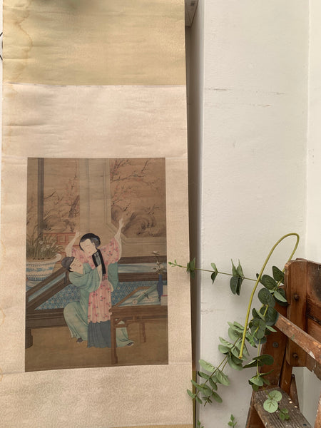 Old Chinese roll-down woodblock print