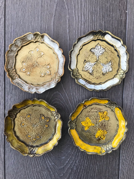 Set of Four Vintage Italian Florentine Coasters - Gold, white and yellow.