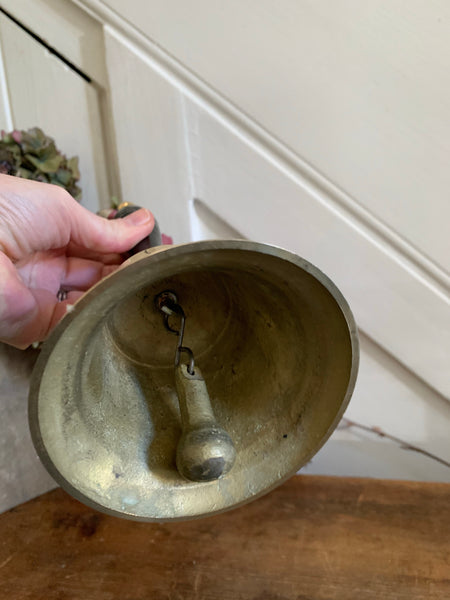 Large Vintage Brass Handbell with Black Handle