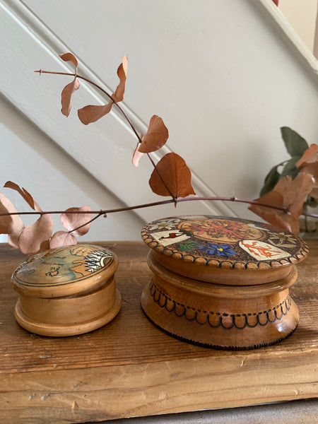 Little Round Wooden Box with painted and carved detail