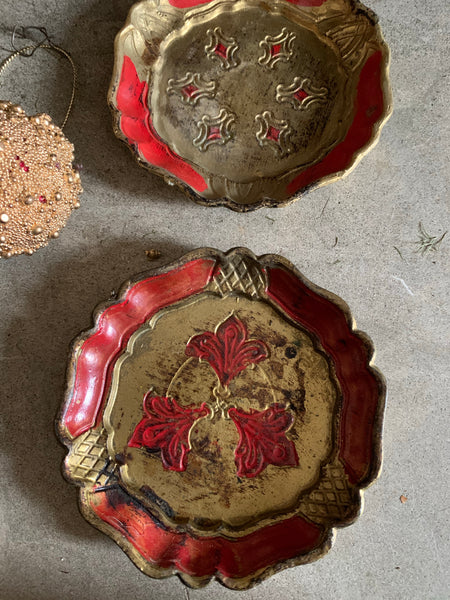 Set of Two Vintage Italian Florentine Coasters - Red