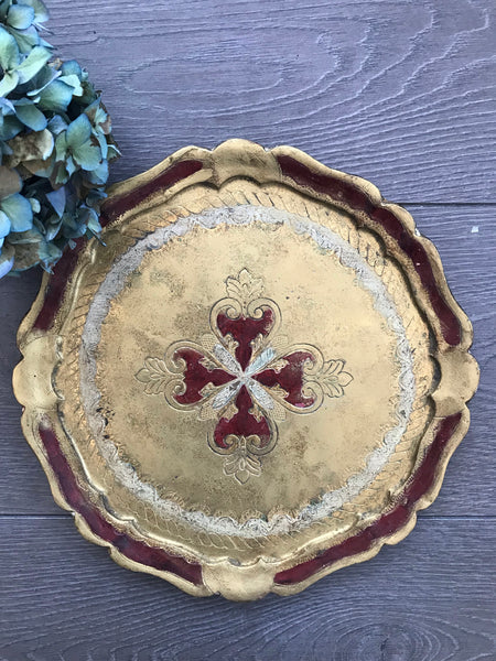 Red and Gold Florentine Vintage Gilt Tray