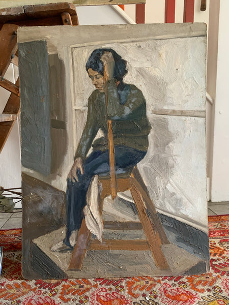 Portrait of a Lady on a ladder  - Oil Painting on Board